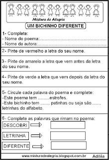 Avaliação de português alfabetização