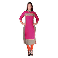 Pink Cotton Kurti With Resham Embroidery On Bust And Side With Contrasting Patch Work