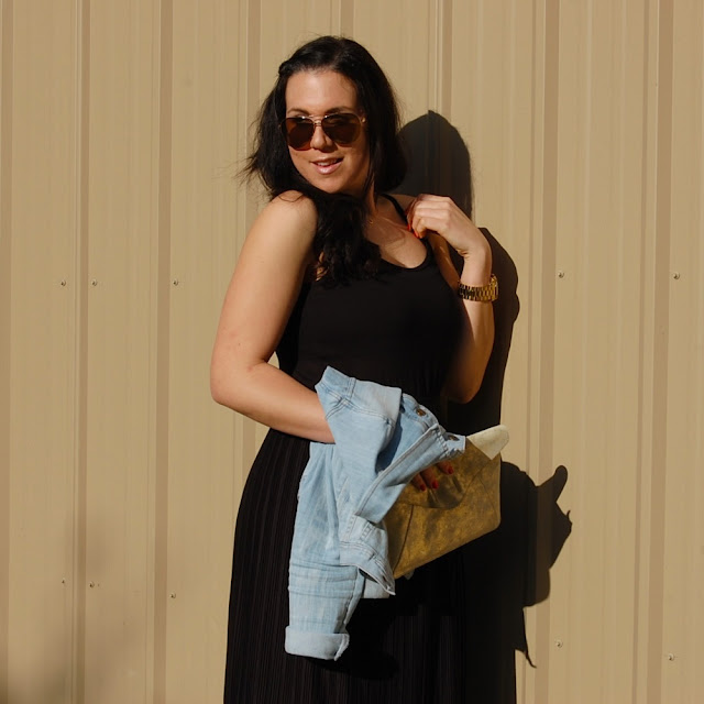 Oak + Fort maxi dress, light denim jacket, gold Gap clutch and Sam Edelman Serena sandals