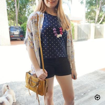 awayfromblue instagram print mixing polka dot navy foil tee black shorts floral kimono