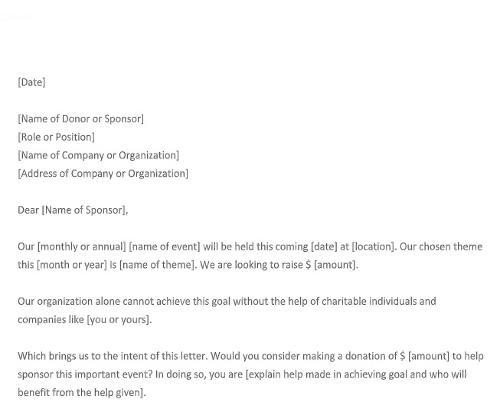 Sample Sponsorship Letter for Donations