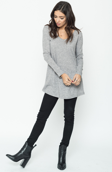 Buy Now heather grey Back Ribbon Sweater Tunic (Final Sale) Online $24 -@caralase.com