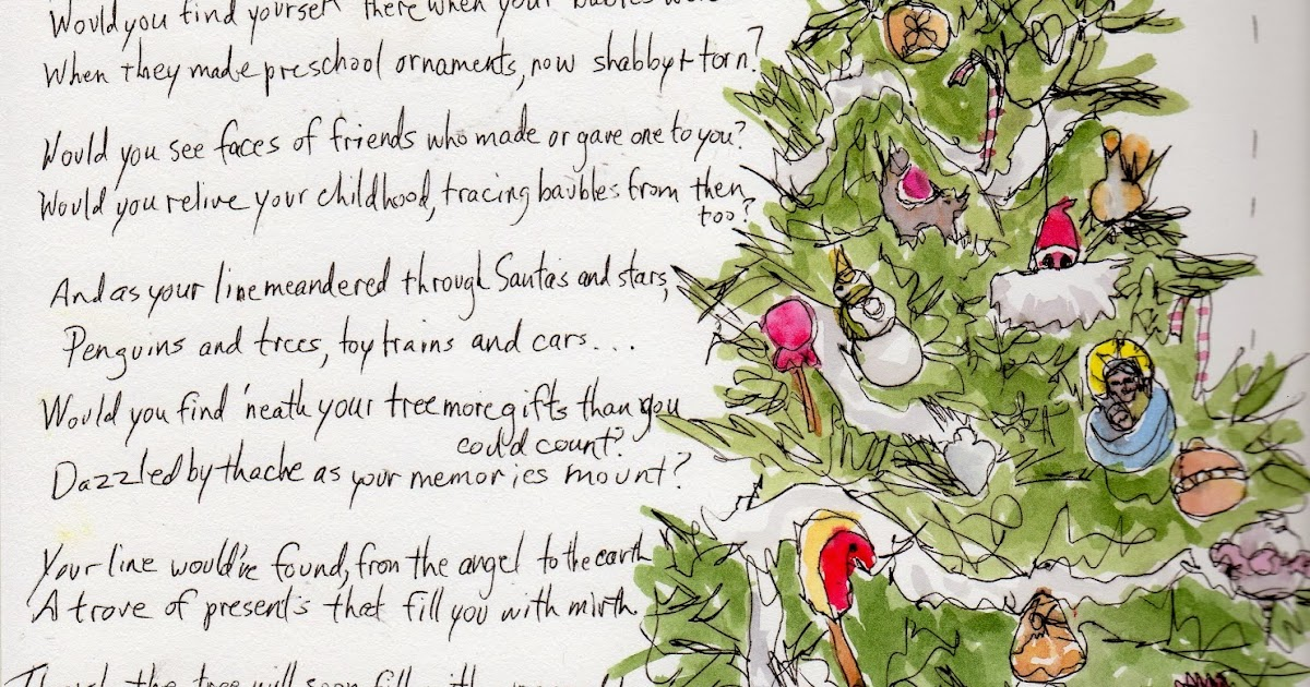 Freebird Drawing: Christmas Tree And A Poem