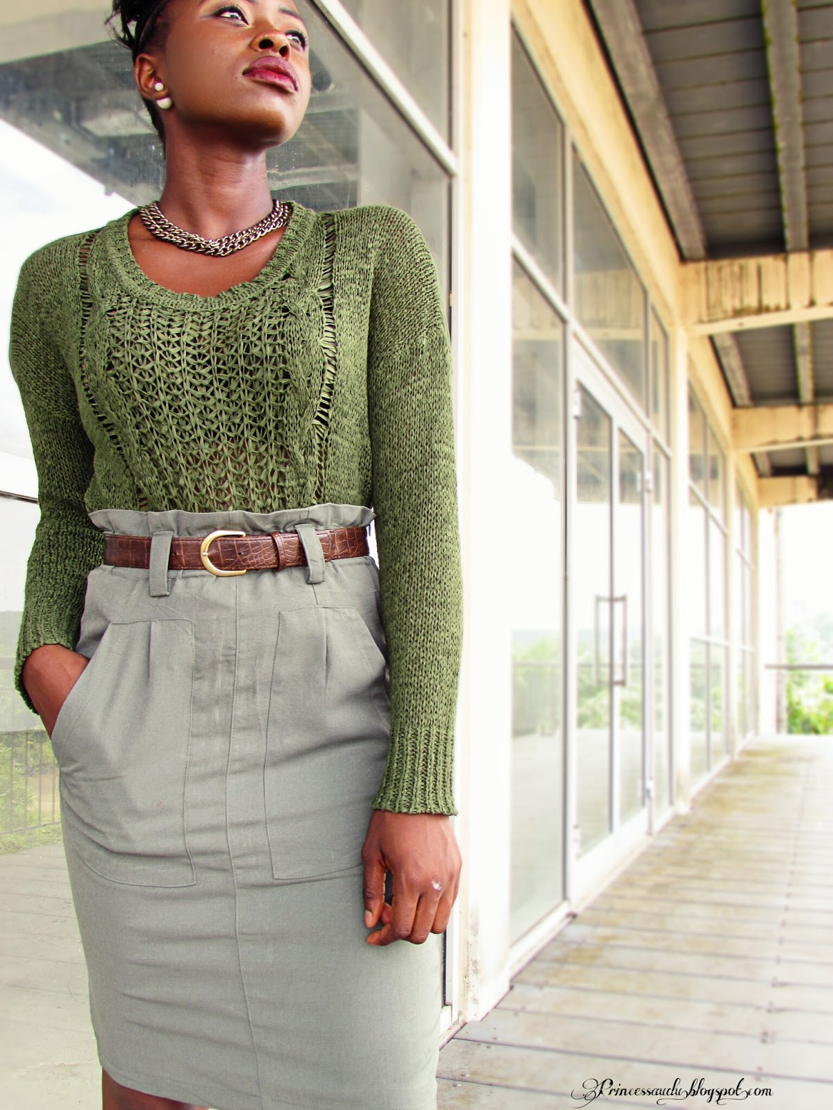 khaki, sweater, vintage skirt, zara,fall weather