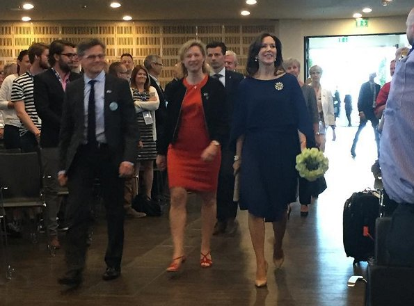 Crown Princess Mary attended opening of the European Emergency Medical Services congress. Princess wore Gianvito Rossi pumps and Prada dress