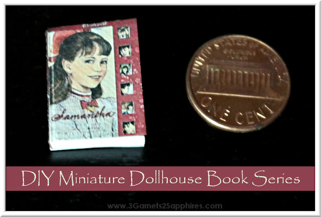Easy craft for making your own series of miniature dollhouse books.  www.3Garnets2Sapphires.com