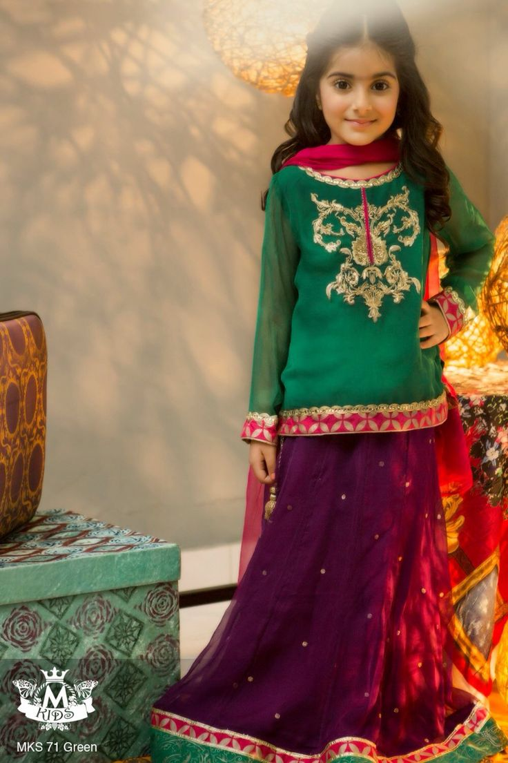 Latest fashion suits for little girls Pakistani and Indian. Beautiful  lehnga for kids bccc321fe79