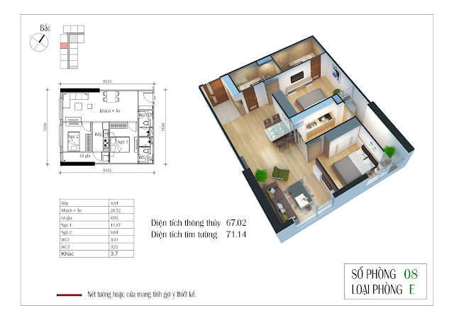 Thiết kế căn hộ số 08: 67,02m2
