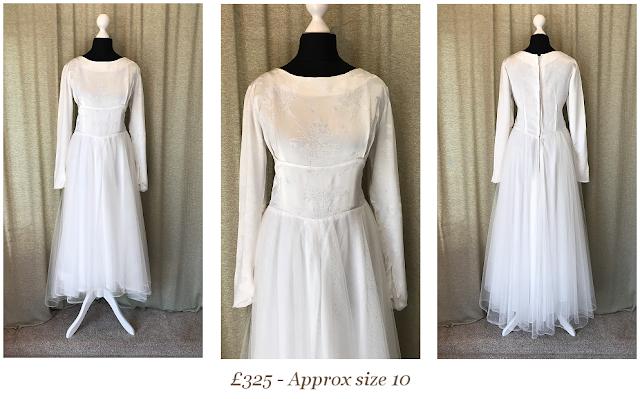 1950's tea length long sleeve tulle skirt vintage wedding dress available at vintage lane bridal boutique in bolton , manchester, lancashire