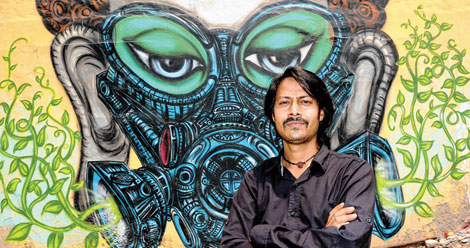 Graffiti: Styles| artists | and artworks/Yantra with his Mural of Buddha