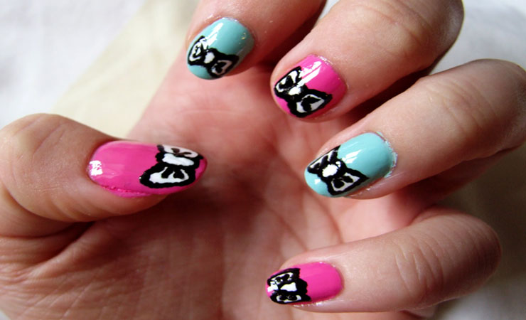 stylish and cute nail designs with bows and diamonds for