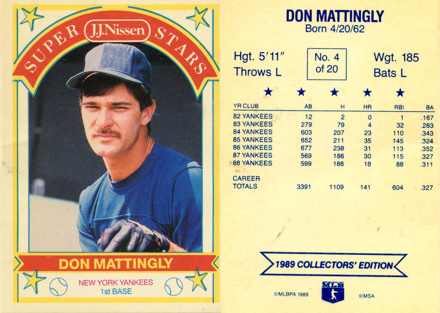 Scanned Vintage Graphics Jj Nissen Baseball Card Don Mattingly
