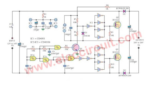 Circuit Schematic DC/DC Converter DC12V to 24V 2A using IC 40106 and Mosfet BUZ11