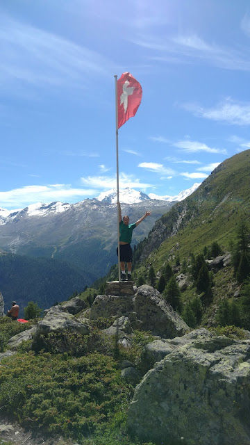 the Swiss flag up by Trift where I say my goodbyes to Switzerland