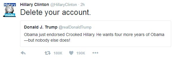 Epic! Hillary Clinton claps back at Donald Trump on Twitter