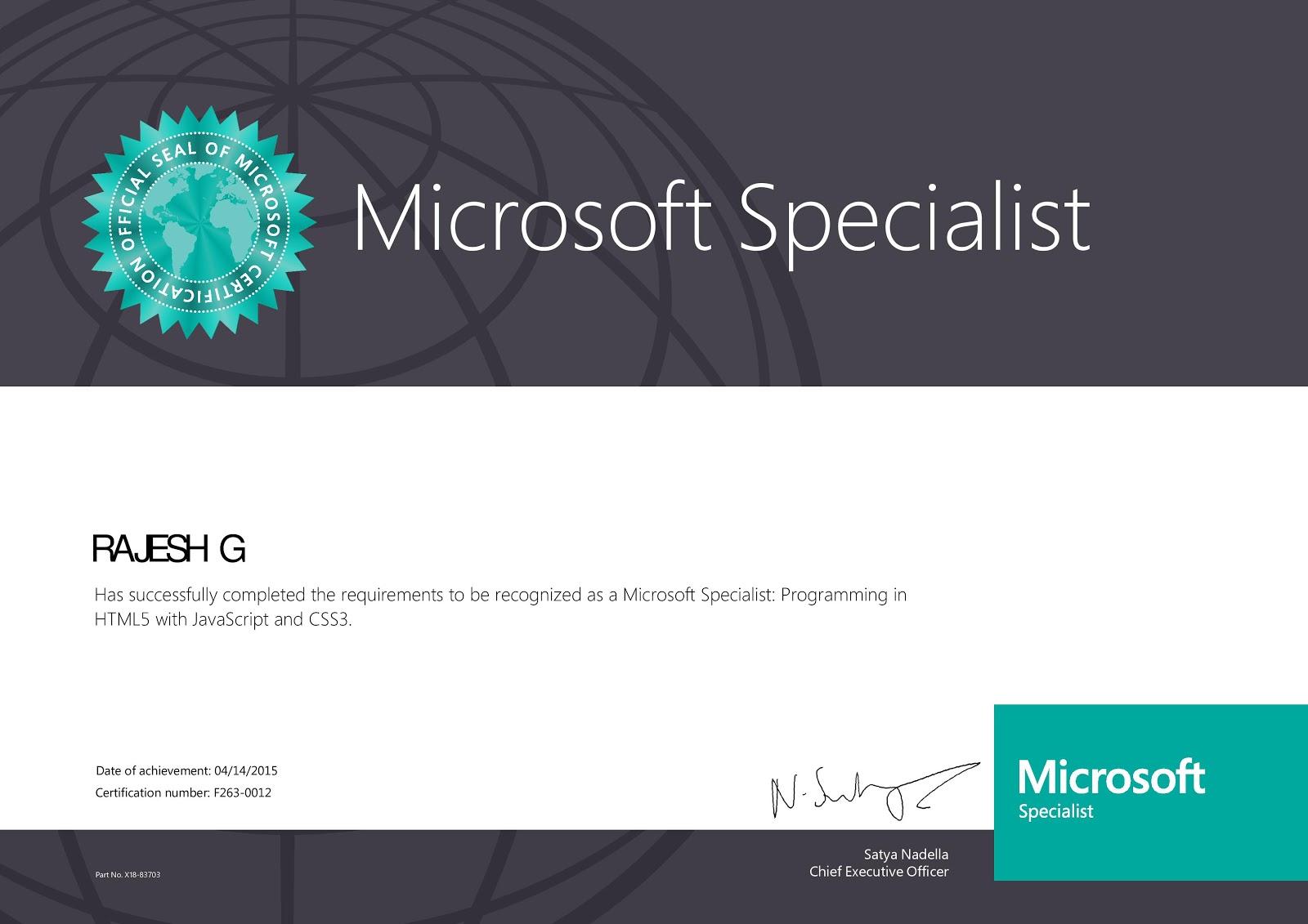 css3 html5 ms certification javascript dotnet developer