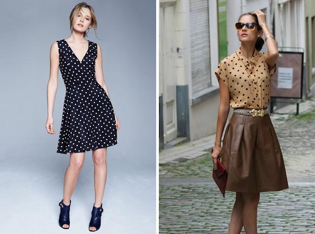 Платье и блузка в упорядоченный горох
