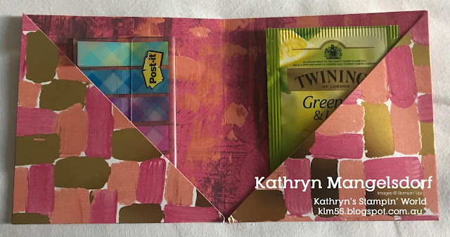Stampin' Up! 3d Wallet Post it Notes & Tea Bag, Painted with Love Specialty Designer Series Paper created by Kathryn Mangelsdorf