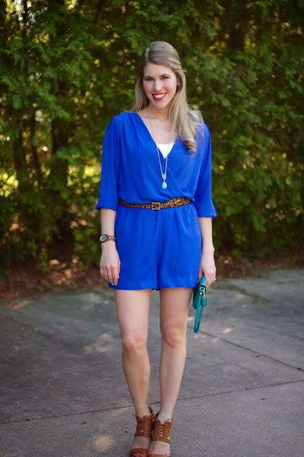 cobalt blue romper, leopard belt, caged heels, turquoise clutch