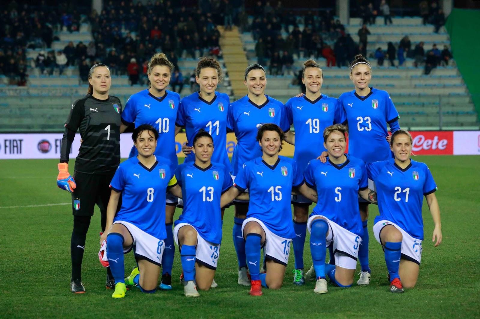 Formación de selección femenina de Italia ante Chile, amistoso disputado el 18 de enero de 2019