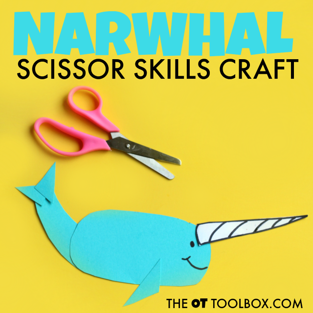 This narwhal craft is great for helping kids develop and work on scissor skills.
