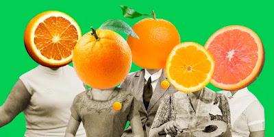 Pessoas com rostos substituídos por laranjas
