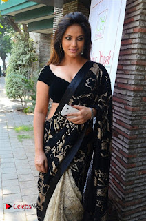 Actress Neetu Chandra Stills in Black Saree at Designer Sandhya Singh's Store Launch  0008.jpg