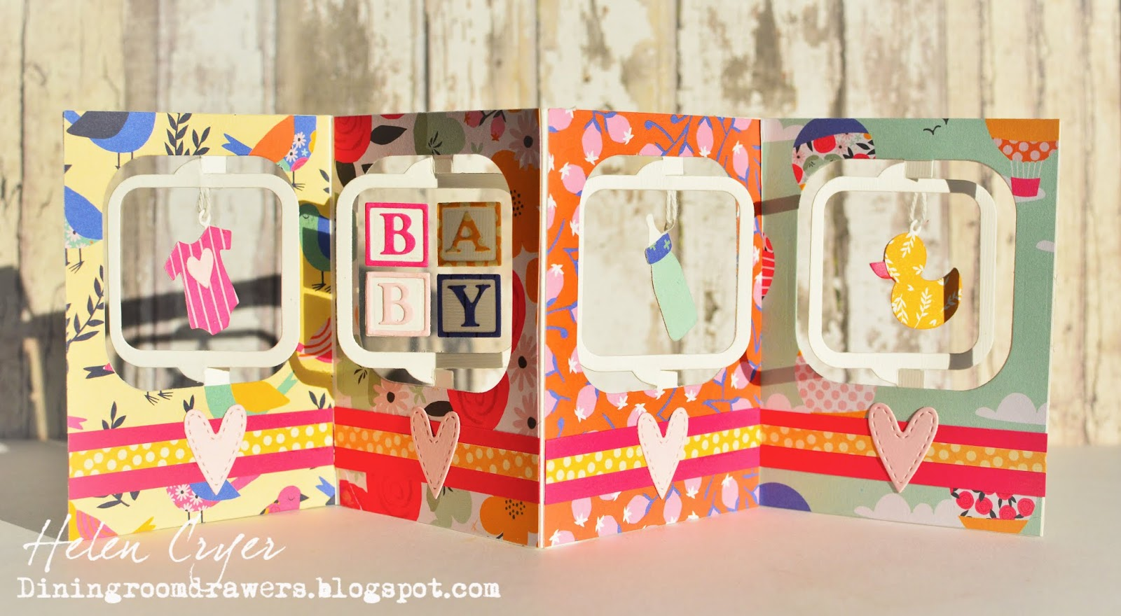 The Dining Room Drawers New Baby Charm Accordion Card