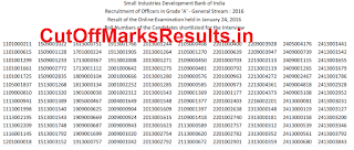 SIDBI Result 2016 for Officer Grade A