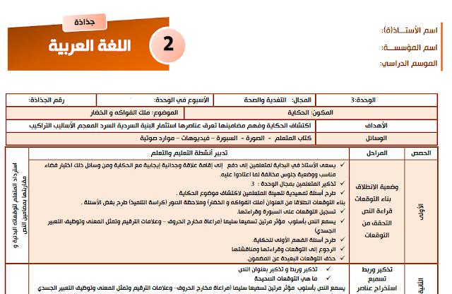 جذاذات مرشدي في اللغة العربية للمستوى الثاني