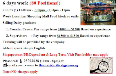 Job Ad for Counter Crew in Shopping Mall