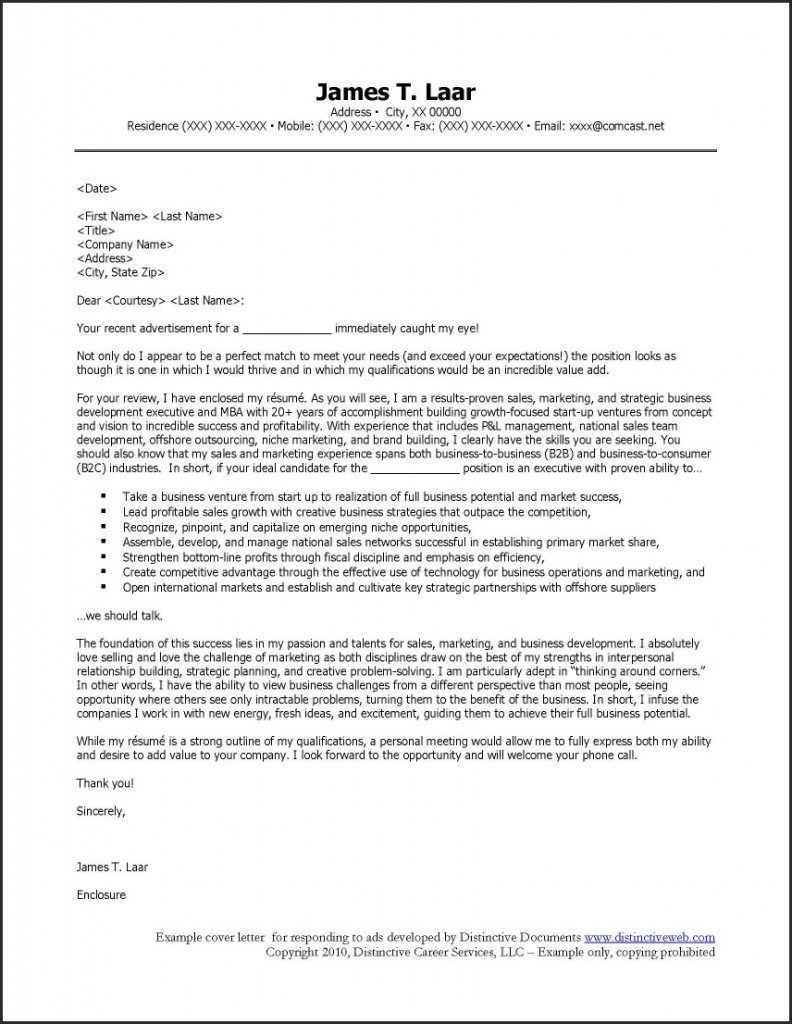 sample cover letter for resume job