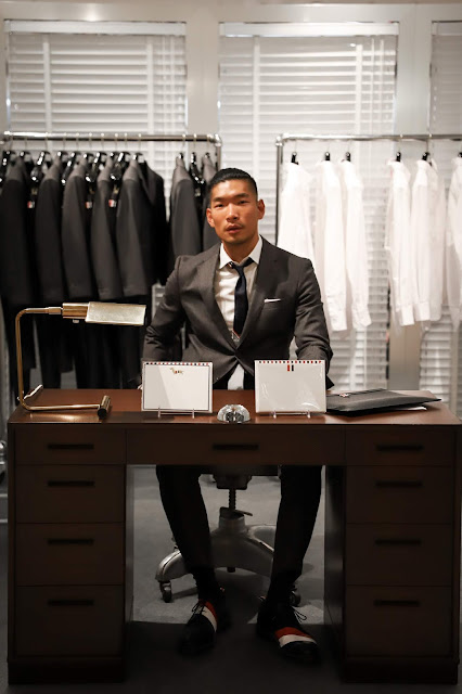 Leo Chan wearing Thom Browne outfit at Barneys Desk | Asian Male Blogger and Model