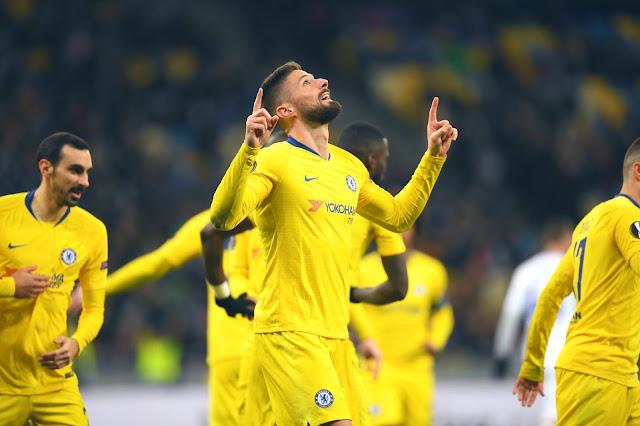 Chelsea FC Olivier Giroud Celebrates Goal