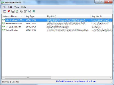 schermata wirelesskeyview che mostra le password salvate su pc