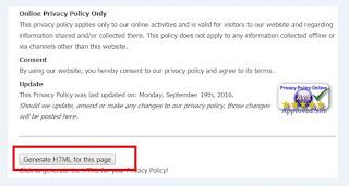 Cara Cepat Membuat Privacy Policy Secara Online untuk blogger