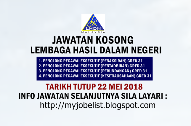 Jawatan Kosong Lembaga Hasil Dalam Negeri (LHDN) Mei 2018