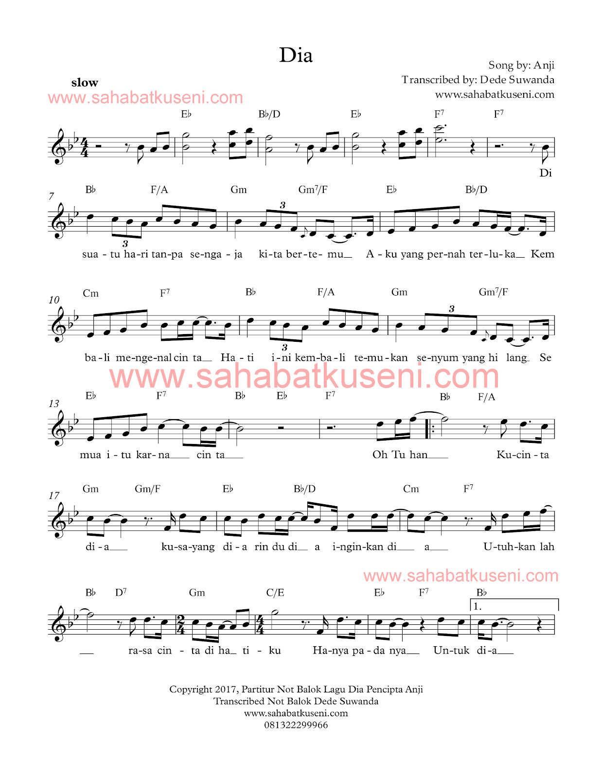penulisan partitur not balok lagu dia karya dari Anji lengkap kunci Bb
