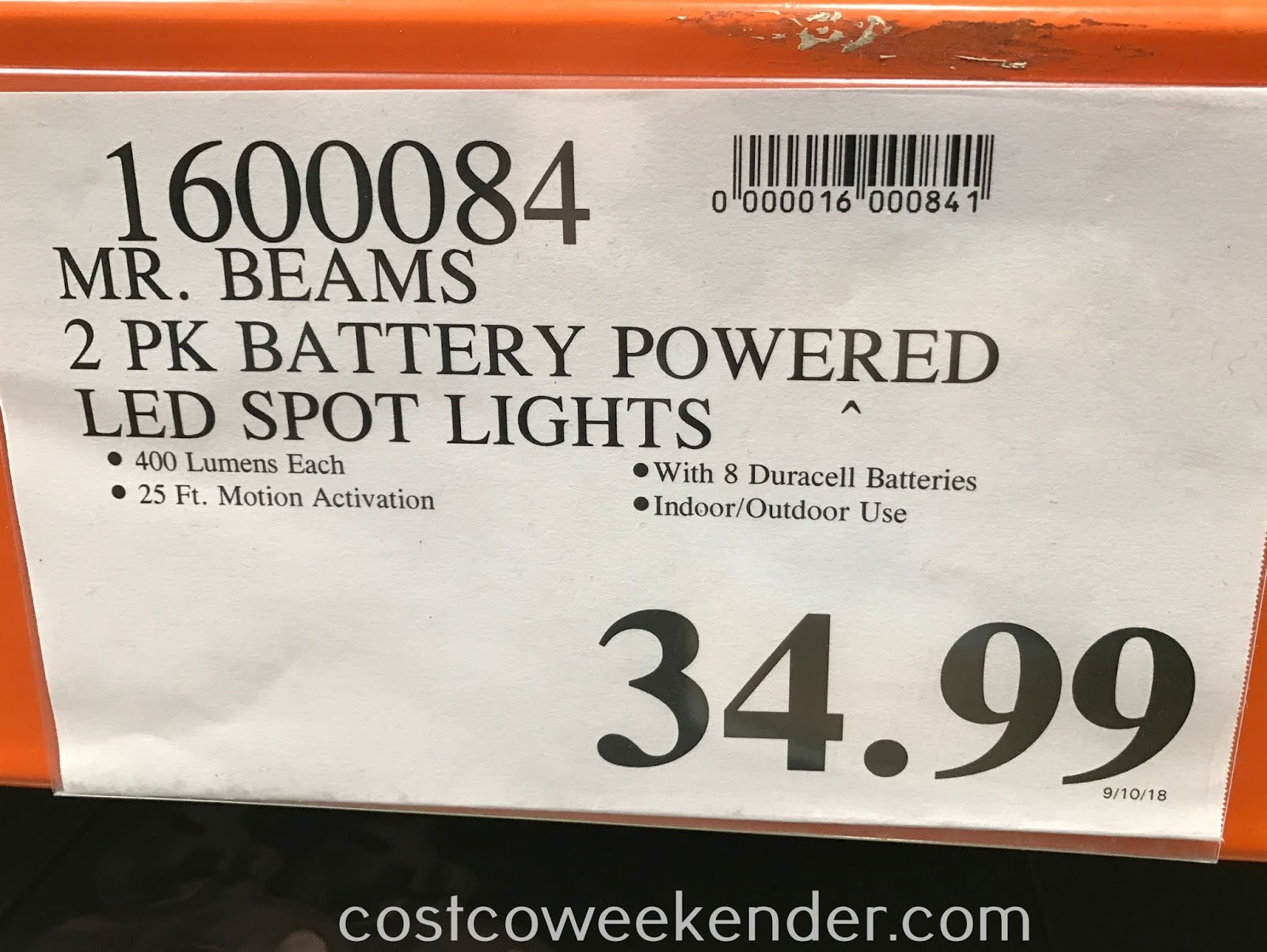 Deal for a pack of 2 Mr Beams LED Ultra Bright Spotlights at Costco