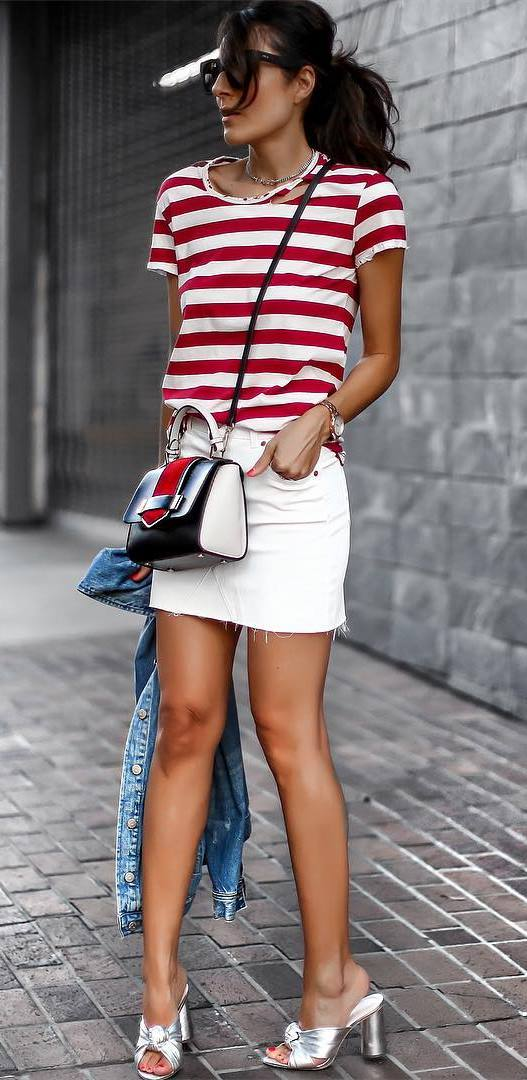simple outfit: t-shirt + skirt + bag + heels