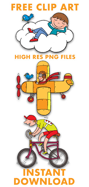 free kid's book illustrations of airplane, bicycle and boy on cloud