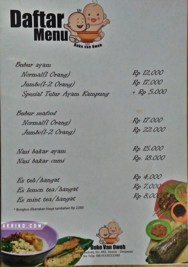 Daftar harga Menu Kedai Duke Van Oweh