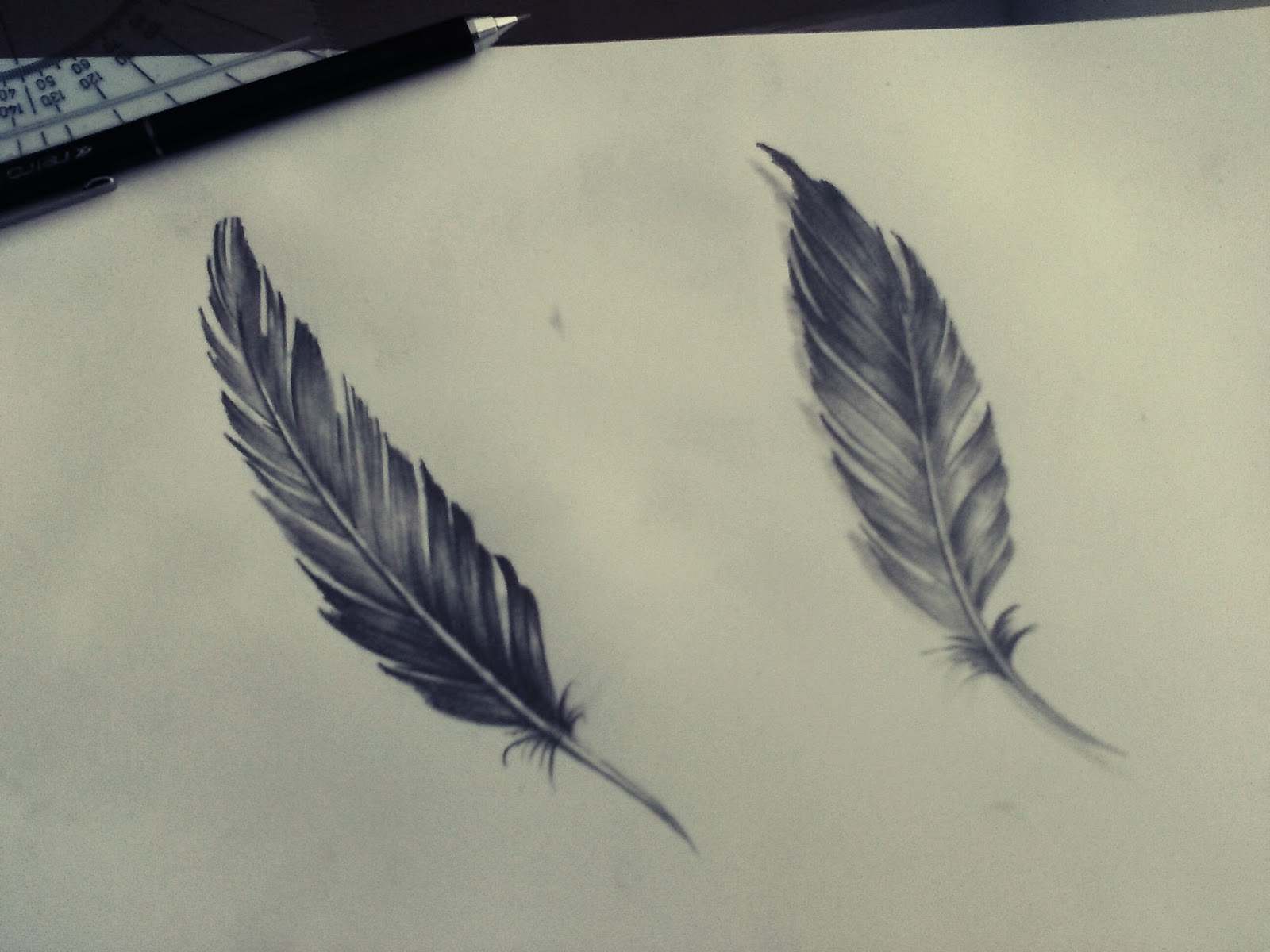 Eljose Art Plumas A Lápiz Tatuaje Feather Flash Tattoo