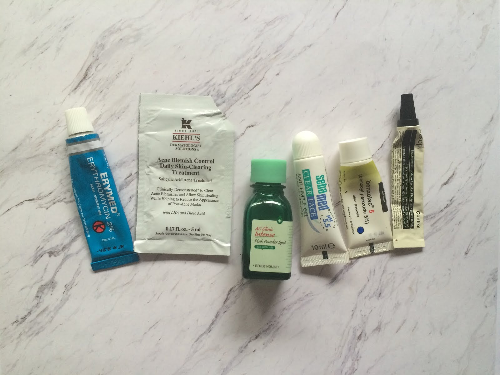 5b3be46aea86 From lesft to right  Erymed, Kiehl s Acne Blemish Control, Etude House AC  clinic Intense Pink Powder, Sebamed Clear Face Anti Pimple Gel, Benzolac,  ...