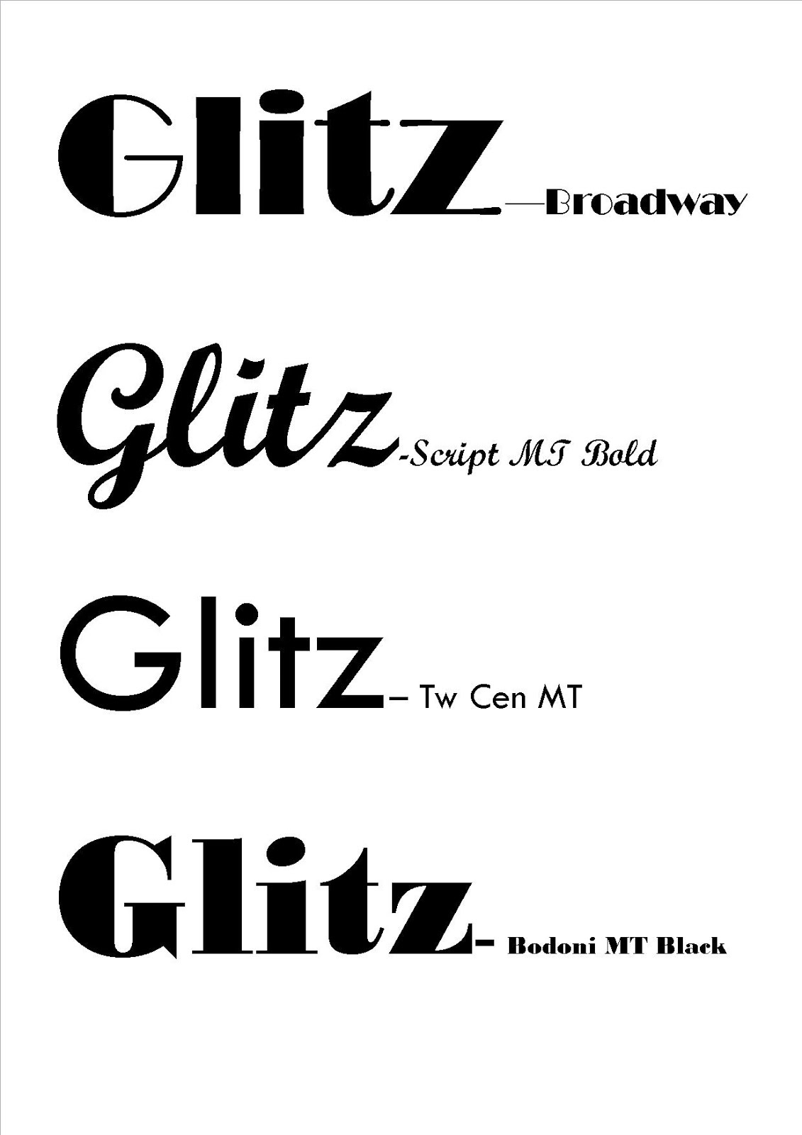 AS Media- Olivia O'Connell: Masthead fonts (Glitz)
