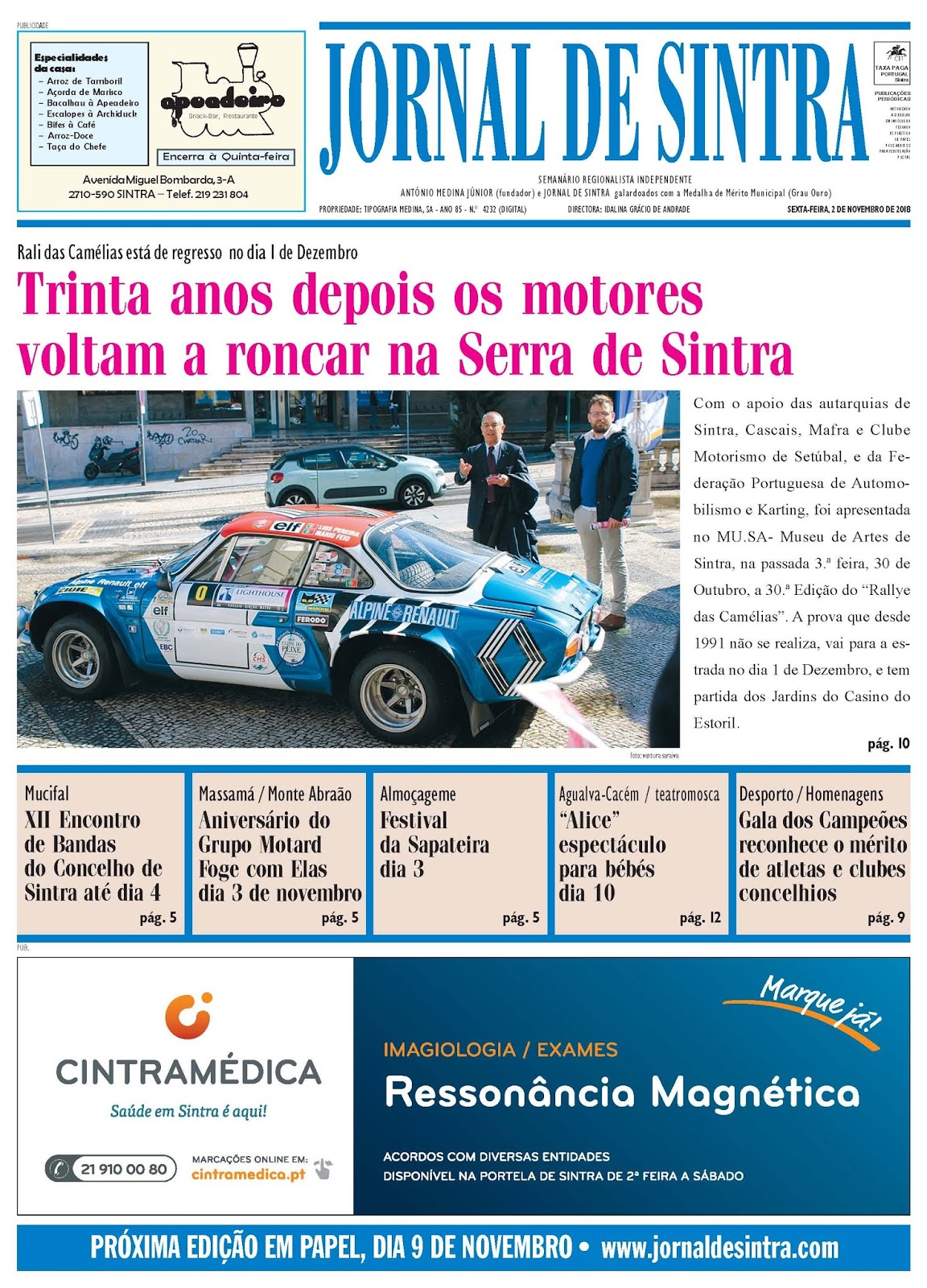 Capa da edição de 02-11-2018