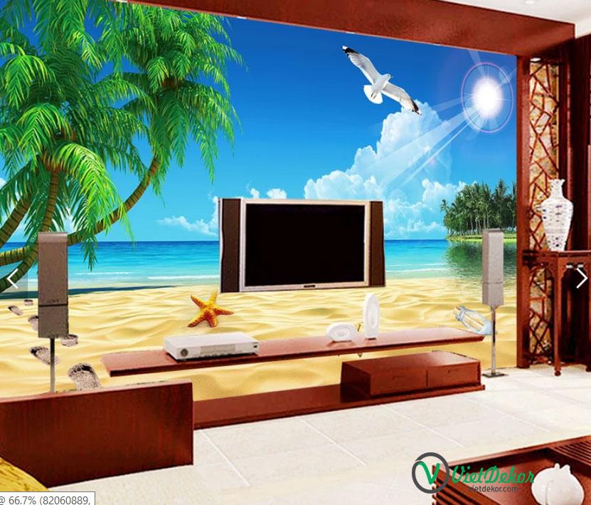 Tranh dán tường 3d phong cảnh biển cò bay