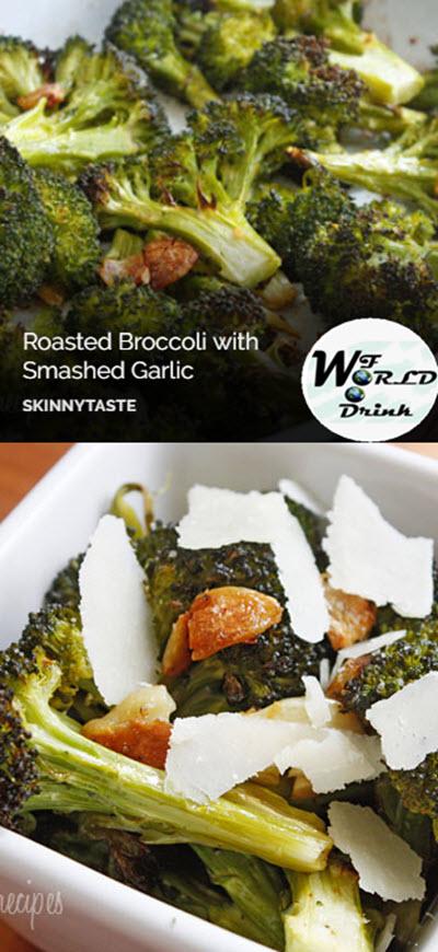 Roasted Broccoli with Smashed Garlic