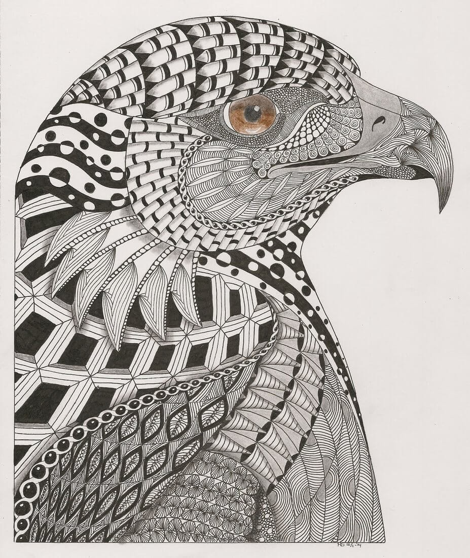 08-Eagle-Adri-van-Garderen-Animals-Given-the-Zentangle-Treatment-www-designstack-co