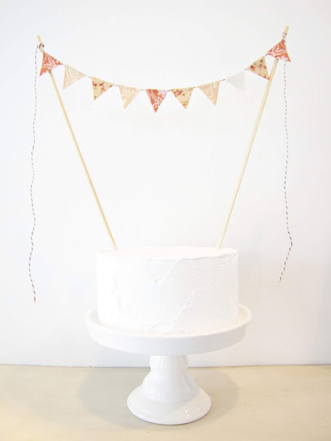 Sweet Tea Cake Topper, Fabric Bunting, Wedding, Birthday Party, Shower Decor, Southern romantic rustic champagne tan peach rust floral athenaandeugenia